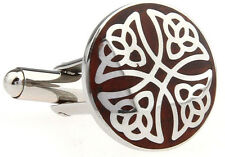 Wood and Stainless Steel Filigree Cross Wedding Cufflinks by COWAN BROWN