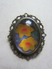 Vintage Bronze Plated Yellow Daffodil  Design Brooch New in Gift Bag St Davids