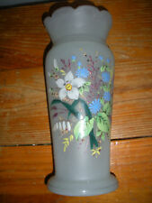 """Hand-Painted Floral Design on A White Blown Frosted Glass Vase - 10"""""""