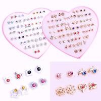 1~36 Pairs Women Girls Fashion Crystal Diamante Flower Stud Earrings Jewelry Set