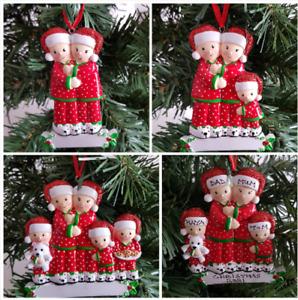 Personalised Christmas Tree Decoration Family 2-5 Wearing Pyjamas Cute Slippers