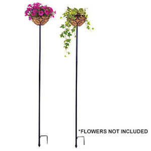 """Panacea 88940 Two Pack of Adjustable Planter Stake ; 69"""" Tall, 10"""" Basket"""