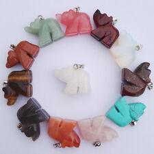 Wholesale natural stone bear charms pendants mixed carved Animal bead 12pcs/lot