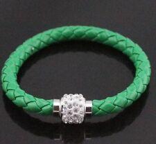 NEW Green Leather Wrap Wristband Magnetic Rhinestone  Bracelet Bangle+Gift bag a