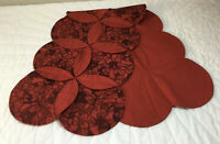 Patchwork Quilt Table Runner, Circles, Crescents, Leaves Calico Print, Brick Red