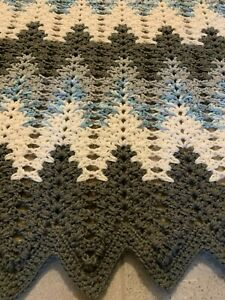 New Hand Crocheted Afghan in Grays , White, Blue Multi, in  a Chevron pattern