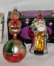 2-VINTAGE RADKO SANTA & BEAR ON SOCCER BALL CHRISTMAS ORNAMENTS
