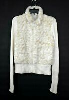Cato Womens White Faux Fur Full Zip Ribbed Sweater Long Sleeve Cotton Jacket M