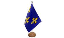 Ile-de-France France table drapeau avec en bois socle
