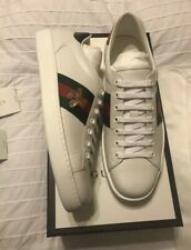 New Auth Gucci Ace Bee Leather Low Fashion Sneakers Shoes White 9 10 $850