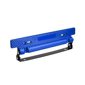 Adjustable Blue Carbon Fiber Car Racing License Plate Frame Holder Universal Kit