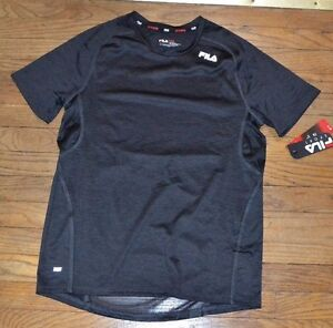 Fila Sport Performance T-Shirt Fitted Tee Top Provent Mesh Panels Black & Gray