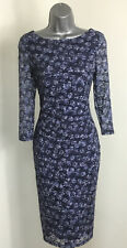 M&S Per Una Navy/Blue Stretch Floral Lace Flattering Bodycon Dress size 10