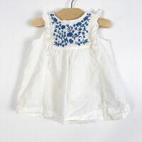 Baby Gap Infant Baby Girls Boho Summer Sleeveless Dress Cream Blue 3-6 Months