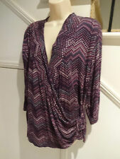 LADIES MILLERS SIZE 20 CROSSOVER TOP PURPLE BLACK PATTERN 'PERFECT'