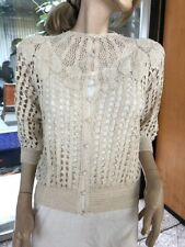 Lim's Vintage All Hand Crochet Top Beaded Pearl Buttons Natural Size S