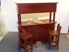 Dollhouse Miniature Bar & Chairs Set Mahogany 1:12 inch scale Y25 Dollys Gallery