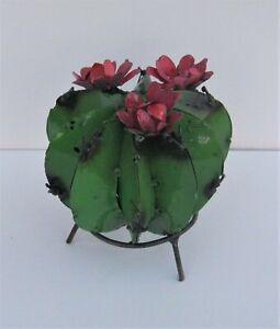 "SMALL METAL ART BARREL CACTUS SCULPTURE WITH FLOWERS 6"" DIAMETER GREEN"