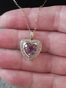 🤩stunning 9ct Gold Large Heavy Weight Amethyst And Diamond Heart Pendant...