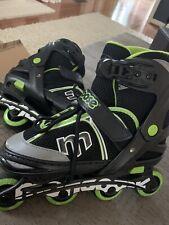 Mongoose Boys Adjustable Inline Skates Black/Green Sz Large (5-8) rollerblade
