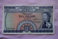 More details for states of jersey ten £10 pounds banknote a273189 clennett, nice note but worn...
