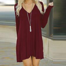 Women Winter V-Neck Casual Loose Long Sleeve Evening Party Short Mini Dress  WEL