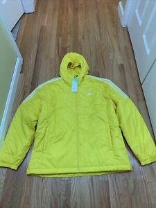 Adidas Originals Essentials Insulated Hooded Jacket YELLOW GL8535 Size XL