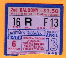 VINTAGE BOXING TICKET STUB-4/13/48 GOLDEN GLOVES-CHICAGO STADIUM-EUROPE VS. CHI