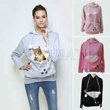 Cute Women Carrier Velvet Coat Pouch Large Pocket Pet Dog Cat Holder Hoodie