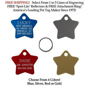 Small Star Shape Pet ID Dog Cat Name Tags Custom Engraved Tag W/Up to 5 Lines