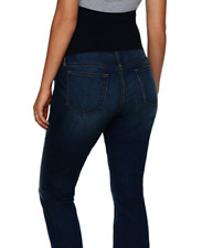 a glow Maternity Size 12 Womens Capri Jeans Dark Wash Full Belly Panel M $54 NEW
