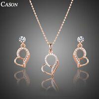 Rose Gold Austrian Crystal Love Heart  Earrings & Pendant Necklace Jewelry Set