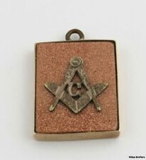 Victorian Goldstone Masonic Fob - 10k Yellow Gold 1880s Frame Square Compass G