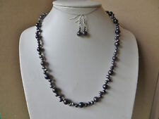 Part Knotted Freshwater pearl beaded necklace In peacock shades N743