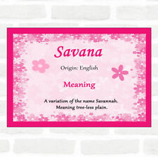 Savana Name Meaning Pink Certificate
