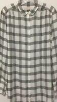 New Ann Taylor Loft Woman's Black&White Long Sleeve Blouse Size L 100% Rayon