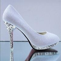 Women Gorgeous Wedding Bridal Evening Party Crystal sweetly High Heels Shoes