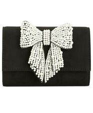 INC Maraa Pearl Bow Black Clutch CROSSBODY SALE Handbag