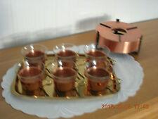 Teeservice - Kupfer mit Messing - Punchservice Grogservice, Stövchen, Tablett