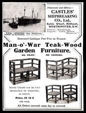 1910 Man-o'-War Teak-Wood Garden Furniture print ad Castles' Shipbreaking Co.