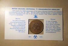 British Columbia Centennial 1871 1971 Commemorative Medallion Original Package