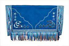 Western Barrel Rodeo Show Saddle Pad With Fringes- Water Blue