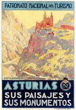 Travel Art Poster Asturias sus Paisajes y sus monumentos Turismo Spain print