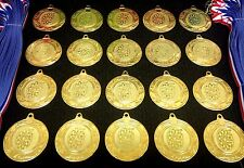 20x Darts Medals (40mm Gold Metal + Darts Centres) + Ribbons MM2112G