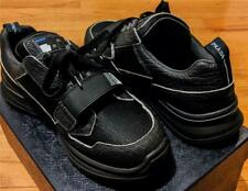 $790 Mens Prada Vitello Sport Grip Strap Sneakers Black/Blue UK 8.5 US 9.5
