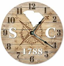 SOUTH CAROLINA Established in 1788 COMPASS CLOCK Large 10.5 inch Wall Clock