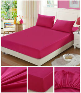 New 350TC Tencel Cotton Fitted Sheet Mattress Protector Cover HotPink Q K