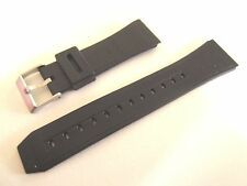 BLACK PLASTIC 22MM DIVERS WATCH STRAP BAND STAINLESS STEEL BUCKLE