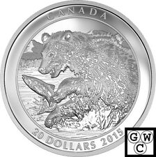2015 'Grizzly Bear - The Catch' Proof $20 Silver Coin 1oz .9999 Fine (17409)