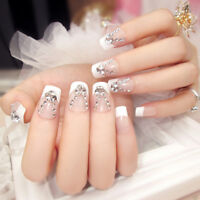 24x French Full Nail Tips False Nails with glue short sticker Design Full Covers